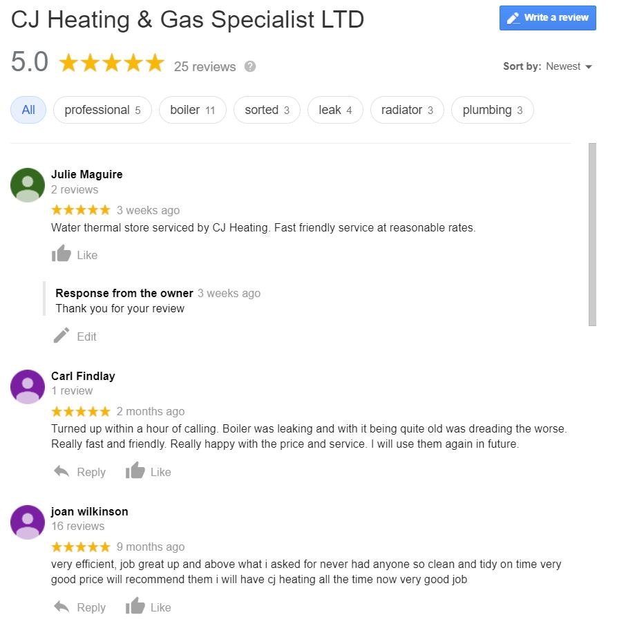 CJ Heating Testimonials